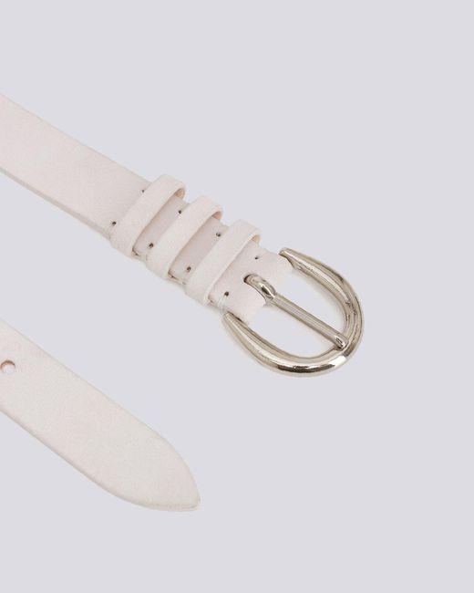 IRO White Pita Classic Silver Buckle Suede Belt