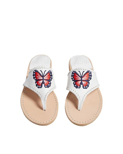 Jack Rogers White Embroidered Patriotic Butterfly Sandal