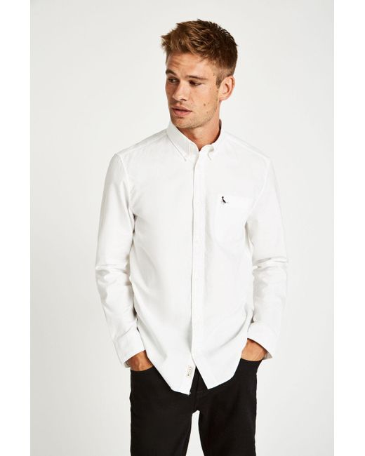 Jack Wills Wadsworth Slim Fit Plain Oxford Shirt In White For Men