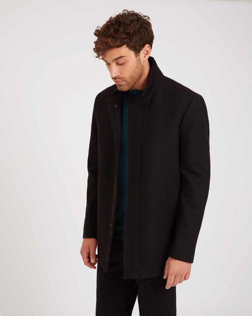 Jaeger - Black Wool Funnel Neck Coat for Men - Lyst