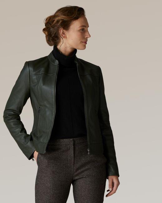 Jaeger Green Stand Collar Leather Biker Jacket