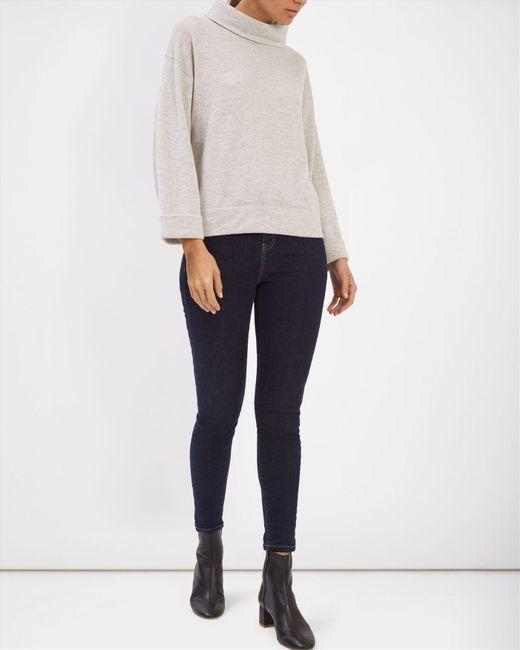 Jaeger | Gray Wool Funnel Neck Sweater | Lyst