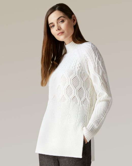 Jaeger White Patchwork Cable Knit Jumper