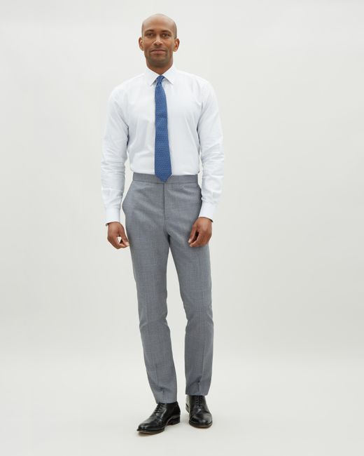Jaeger - Gray Slim Chambray Micro Check Trouser for Men - Lyst