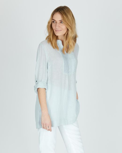 b71be58e78a6d Jaeger - Blue Pintuck Gauze Linen Top - Lyst ...