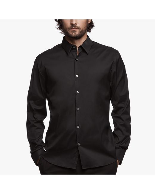 James Perse | Black Matte Stretch Poplin Dress Shirt for Men | Lyst