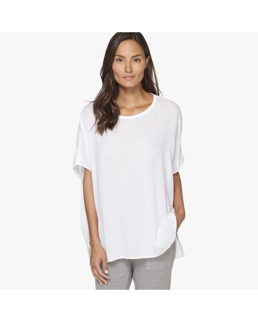 James Perse | White Cotton Crepe Poncho | Lyst
