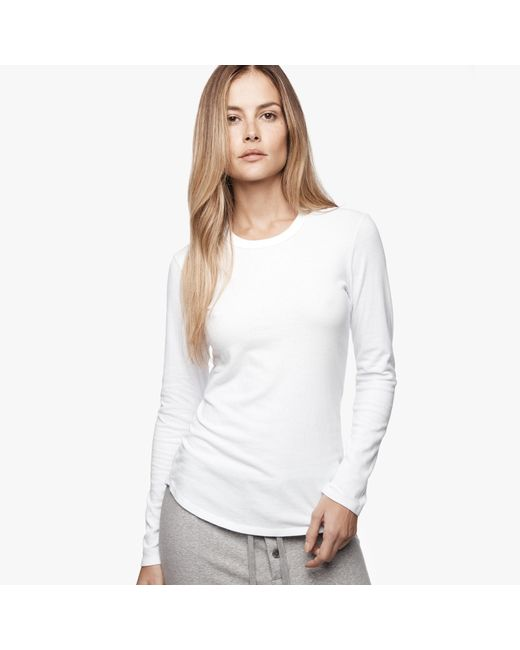 James Perse | White Brushed Jersey Long Sleeve Crew | Lyst