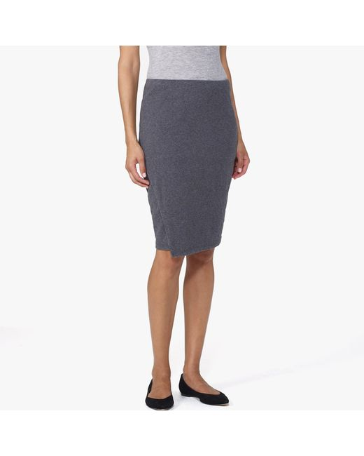 James Perse | Gray Brushed Jersey Wrap Skirt | Lyst