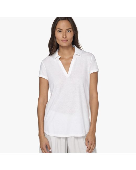 James Perse | White Textured Cationic Polo Tee | Lyst