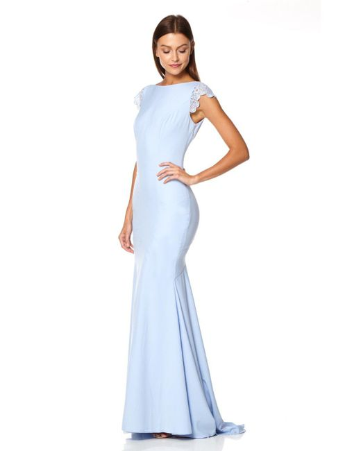 Jarlo - Blue Juliette Fishtail Maxi Dress With Lace Cap Sleeves And Button Back - Lyst