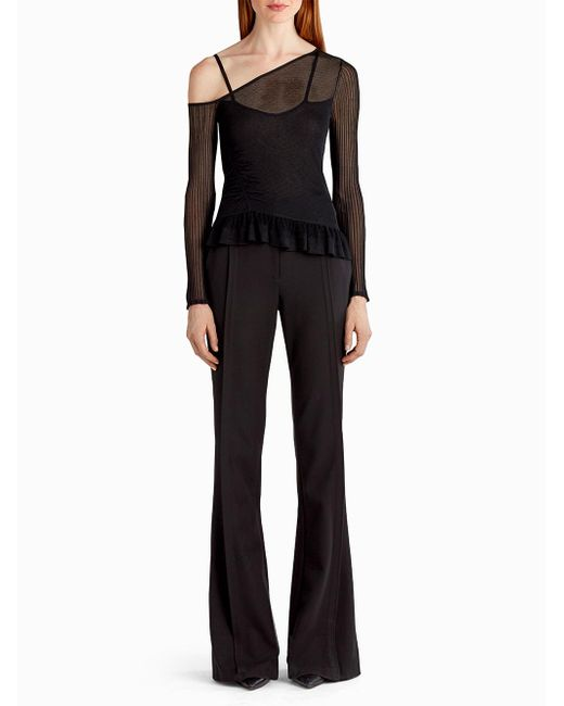 Jason Wu Black Asymmetrical Lingerie Knit With Ruching And Ruffle Detail