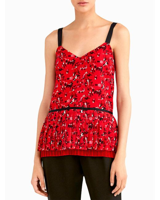 Jason Wu | Red V Neck Pleated Cami | Lyst