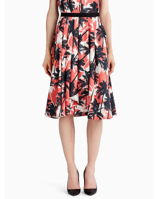 Jason Wu - Red Printed Cotton Shirting A-line Skirt With Front Drape - Lyst