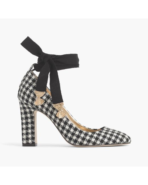 J.Crew | Black Ankle-wrap Pumps In Houndstooth | Lyst