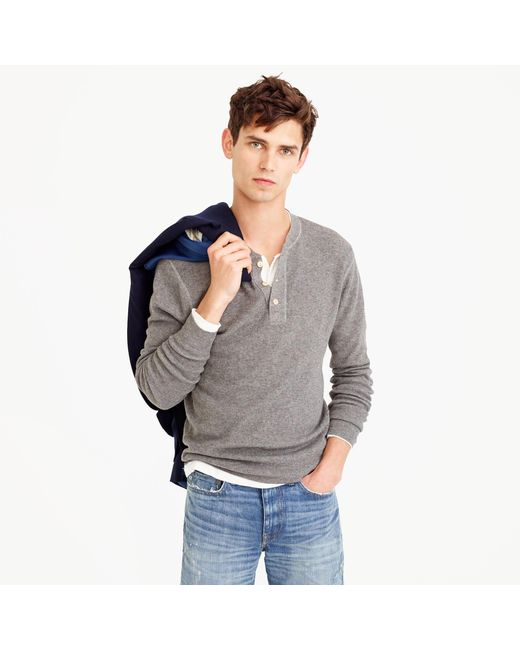 J.Crew | Gray Wool-cotton Henley Sweater for Men | Lyst