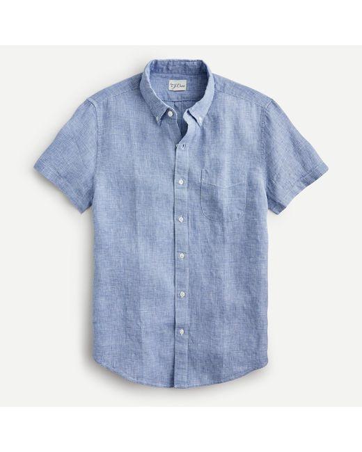J.Crew Blue Slim Short-sleeve Baird Mcnutt Irish Linen Shirt for men