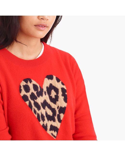J Crew Everyday Cashmere Crewneck Sweater With Leopard