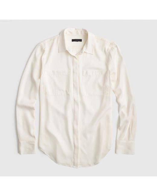 J.Crew | White Silk Pocket Blouse | Lyst