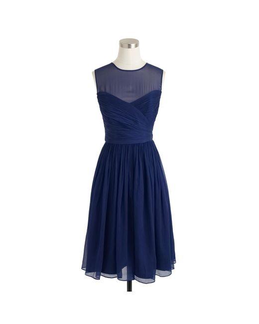 J.Crew | Blue Clara Dress In Silk Chiffon | Lyst