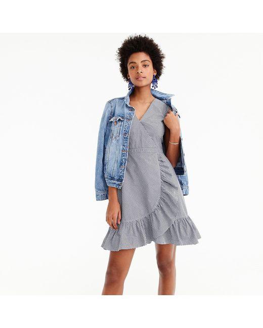 J.Crew - Blue Tall Faux-wrap Mini Dress In Gingham Cotton Poplin - Lyst