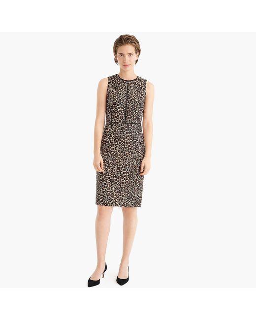 f3f9860371fb ... J.Crew - Multicolor Sheath Dress In Leopard Bi-stretch Cotton - Lyst ...