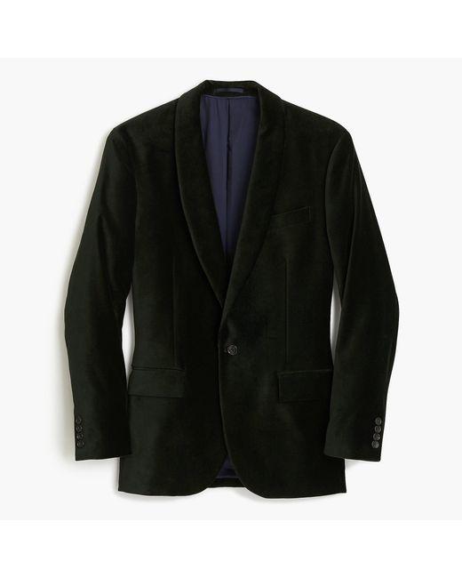 J.Crew Green Ludlow Shawl-collar Velvet Blazer for men