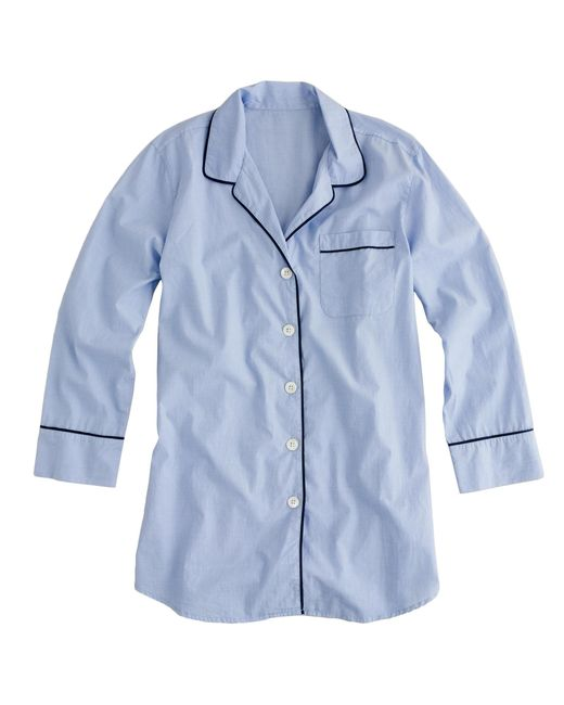 J.Crew | Blue Nightshirt In End-on-end Cotton | Lyst