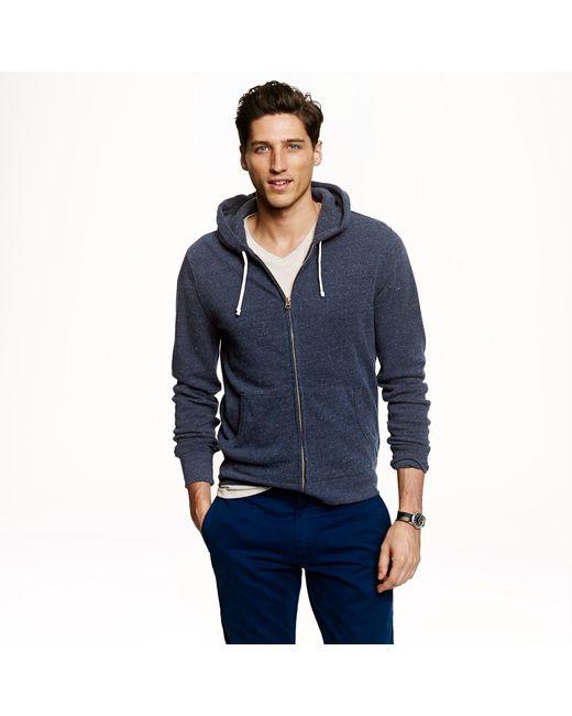 J.Crew   Blue Tall Brushed Fleece Zip Hoodie for Men   Lyst