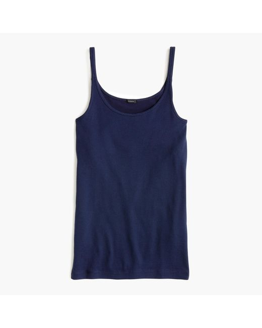 J.Crew Blue Slim Perfect Tank Top With Built-in Bra