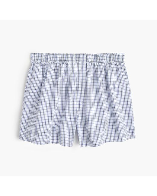 J.Crew | Tattersall Boxers In Blue for Men | Lyst
