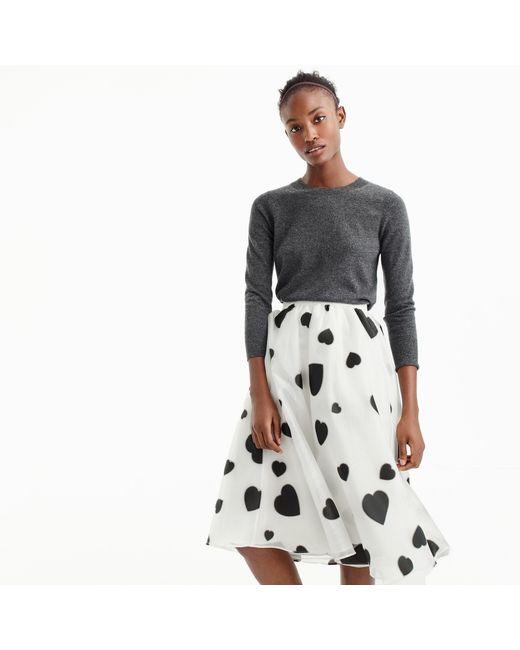 J.Crew   Black Organza Skirt In Heart Print   Lyst