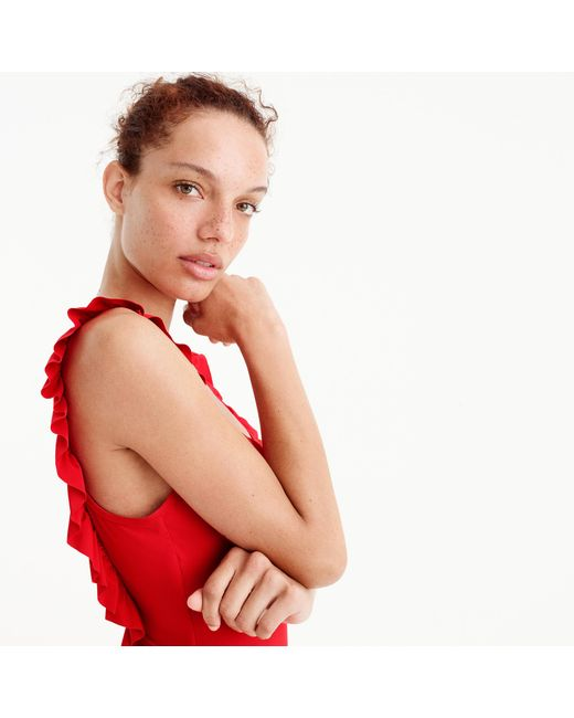 J.Crew | Red Ruffled Scoopback One-piece Swimsuit | Lyst