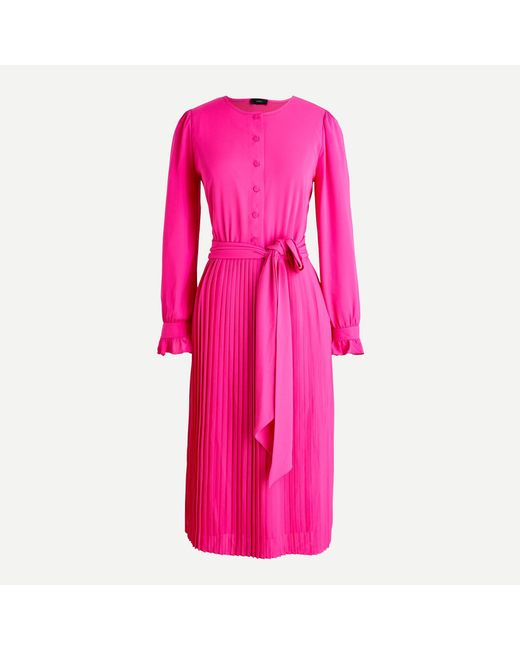 J.Crew Pink Tie-front Pleated Dress