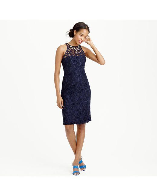 J.Crew | Blue Pamela Dress In Leavers Lace | Lyst