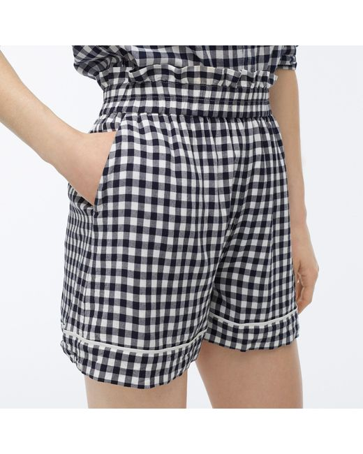 J.crew Women's Blue Pull-on Short In Soft Rayon Gingham