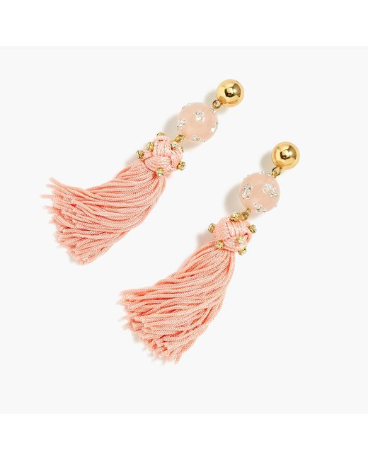 J.Crew - Pink Crystal-studded Bead And Tassel Earrings - Lyst