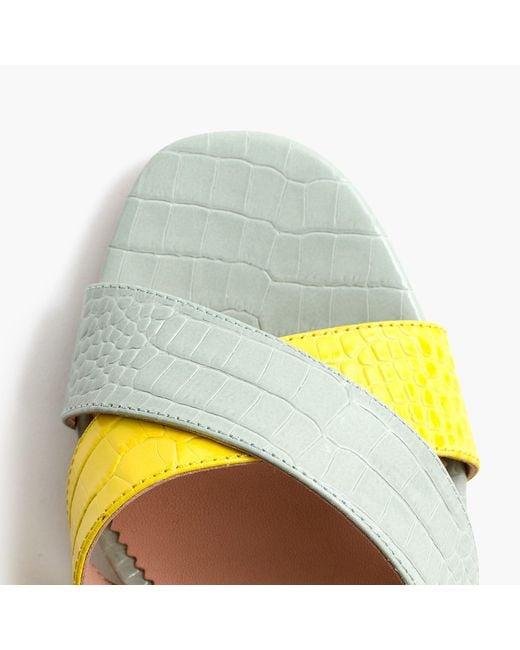 J.Crew Multicolor Penny Slide Sandals In Colorblock Croc-embossed Leather