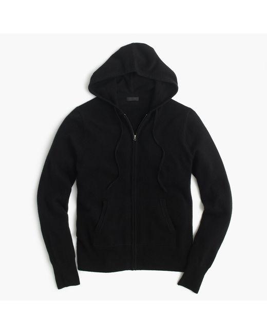 J.Crew | Black Italian Cashmere Zip-front Hoodie | Lyst