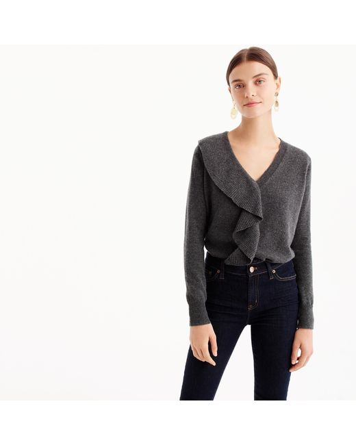 J.Crew | Gray Ruffle Sweater In Everyday Cashmere | Lyst