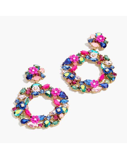 J.Crew - Multicolor Floral Clip-on Hoop Earrings - Lyst