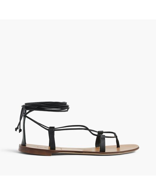 J.Crew | Black Leather Lace-up Sandals | Lyst