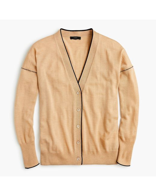 J.Crew - Natural Merino Wool Tipped Cardigan Sweater - Lyst