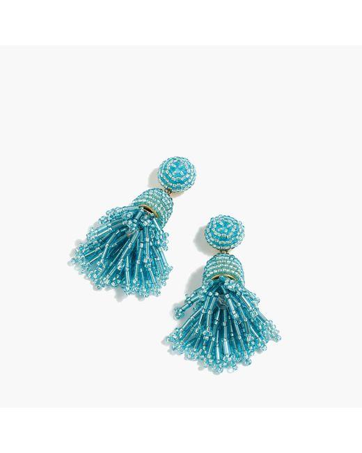J.Crew   Blue Beaded Tassel Earrings   Lyst