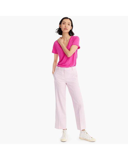 04186e46de83a1 ... J.Crew - Pink Linen V-neck Pocket T-shirt - Lyst ...