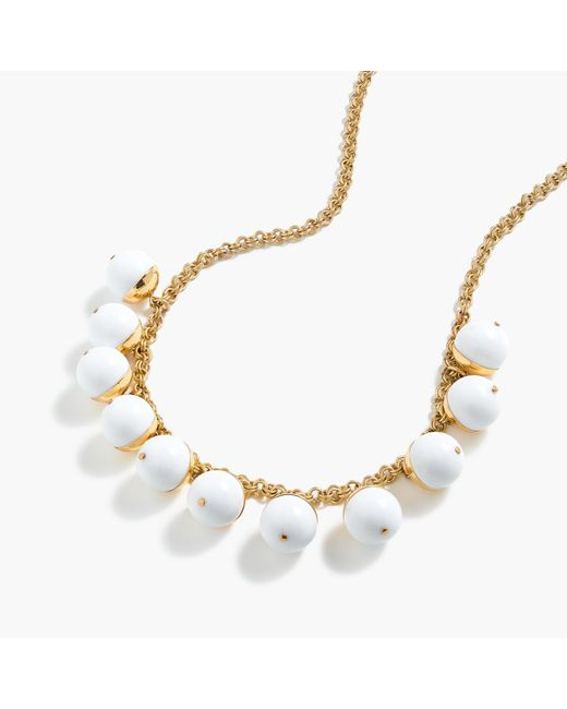 J.Crew | White Beaded Gold Necklace | Lyst