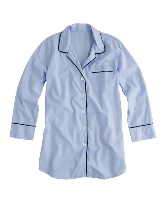 J.Crew - Blue Nightshirt In End-on-end Cotton - Lyst
