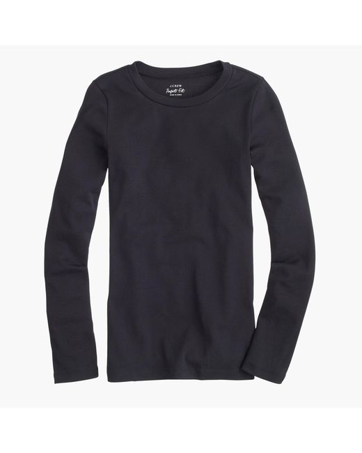 J.Crew Black Slim Perfect Long-sleeve T-shirt