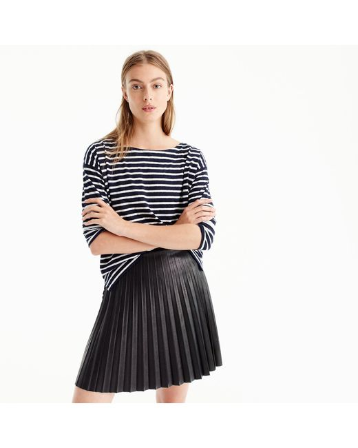 J.Crew | Black Faux-leather Pleated Mini Skirt | Lyst