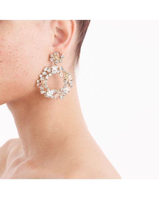 J.Crew - Metallic Floral Clip-on Hoop Earrings - Lyst